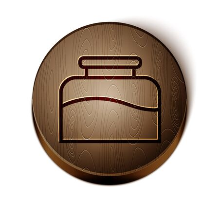 Brown line Inkwell icon isolated on white background. Wooden circle button. Vector Illustration