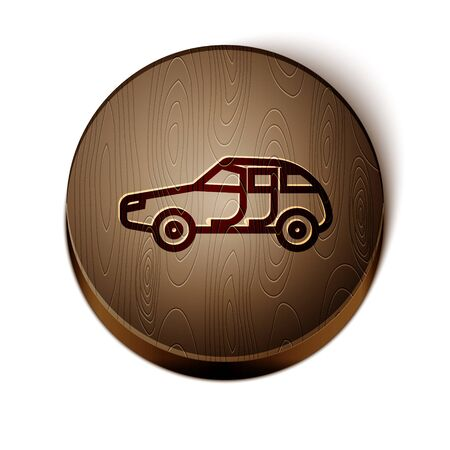 Brown line Car icon isolated on white background. Wooden circle button. Vector Vettoriali