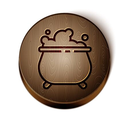 Brown line Witch cauldron icon isolated on white background. Happy Halloween party. Wooden circle button. Vector Illustration