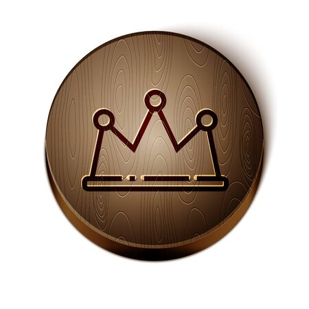 Brown line Crown icon isolated on white background. Wooden circle button. Vector