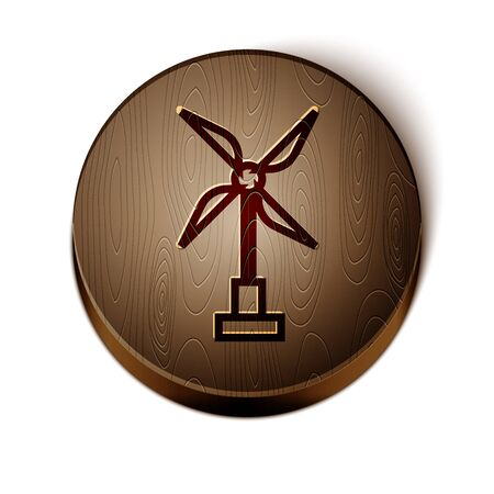 Brown line Wind turbine icon isolated on white background. Wind generator sign. Windmill for electric power production. Wooden circle button. Vector Illustration