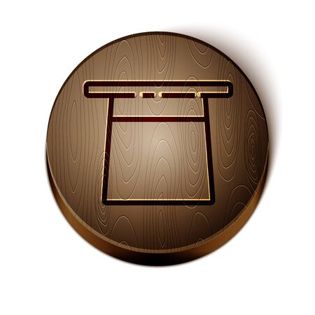 Brown line Magician hat icon isolated on white background. Magic trick. Mystery entertainment concept. Wooden circle button. Vector Illustration Çizim