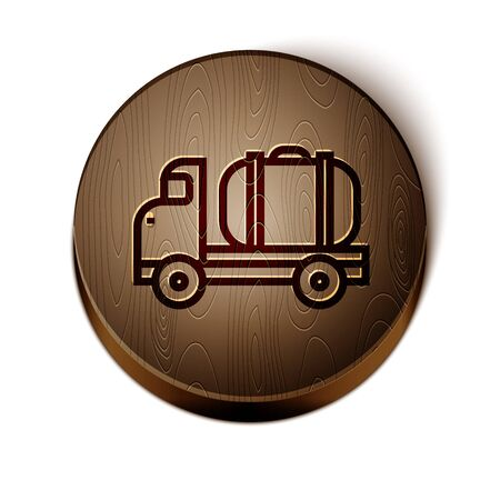 Brown line Tanker truck icon isolated on white background. Petroleum tanker, petrol truck, cistern, oil trailer. Wooden circle button. Vector