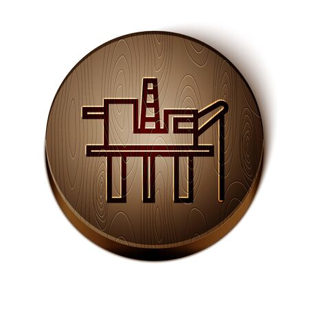Brown line Oil platform in the sea icon isolated on white background. Drilling rig at sea. Oil platform, gas fuel, industry offshore. Wooden circle button. Vector Illustration