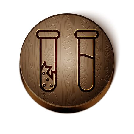 Brown line Test tube and flask - chemical laboratory test icon isolated on white background. Laboratory glassware sign. Wooden circle button. Vector Illustration Çizim