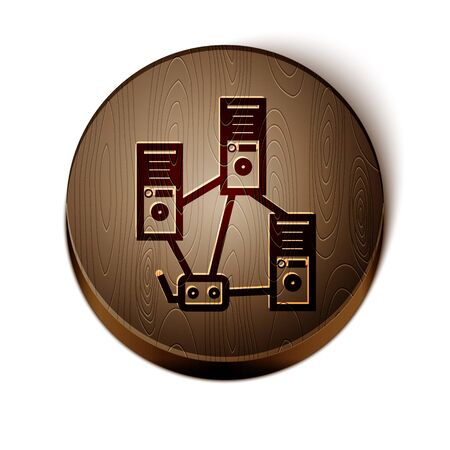 Brown line Computer network icon isolated on white background. Laptop network. Internet connection. Wooden circle button. Vector Illustration