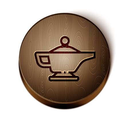 Brown line Magic lamp or Aladdin lamp icon isolated on white background. Spiritual lamp for wish. Wooden circle button. Vector Illustration