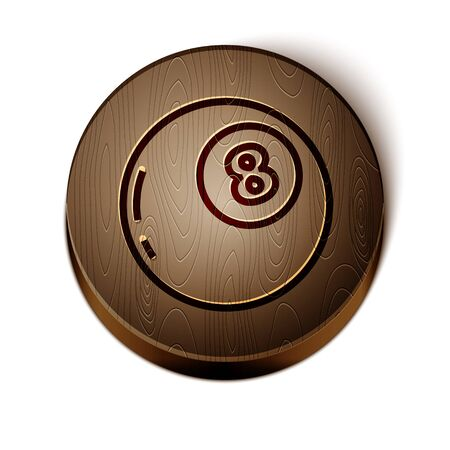 Brown line Magic ball of predictions for decision-making icon isolated on white background. Crystal ball. Wooden circle button. Vector Illustration Vecteurs