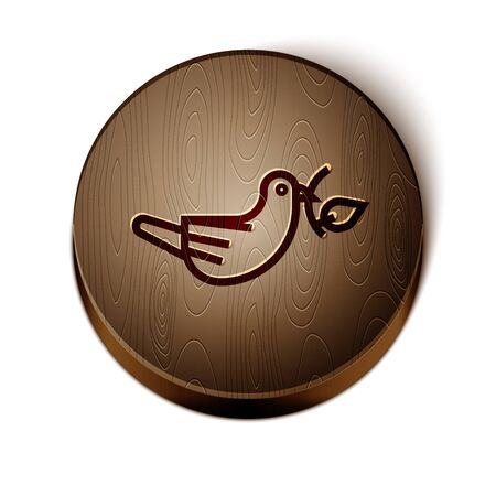 Brown line Peace dove with olive branch icon isolated on white background. Happy Easter. Wooden circle button. Vector Illustration