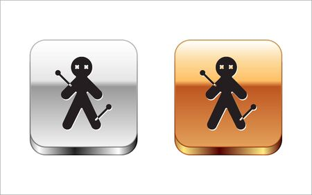Black Voodoo doll icon isolated on white background. Silver-gold square button. Vector Illustration