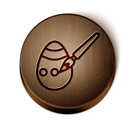 Brown line Easter egg and paint brush icon isolated on white background. Happy Easter. Wooden circle button. Vector Illustration