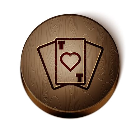 Brown line Playing cards icon isolated on white background. Casino gambling. Wooden circle button. Vector Illustration