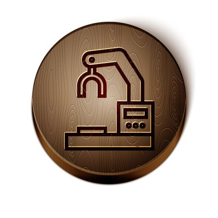 Brown line Industrial machine robotic robot arm hand factory icon isolated on white background. Industrial robot manipulator. Wooden circle button. Vector