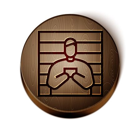 Brown line Suspect criminal icon isolated on white background. The criminal in prison, suspected near the board. Wooden circle button. Vector
