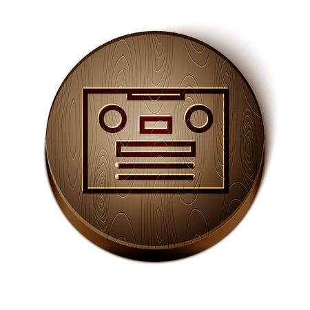 Brown line Retro audio cassette tape icon isolated on white background. Wooden circle button. Vector