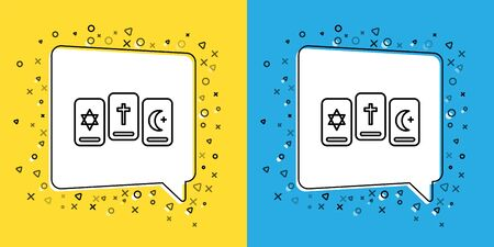 Set line Three tarot cards icon isolated on yellow and blue background. Magic occult set of tarot cards. Vector Illustration