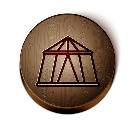 Brown line Circus tent icon isolated on white background. Carnival camping tent. Amusement park. Wooden circle button. Vector Illustration Çizim