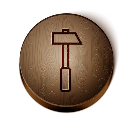 Brown line Hammer icon isolated on white background. Tool for repair. Wooden circle button. Vector