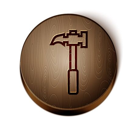 Brown line Claw hammer icon isolated on white background. Carpenter hammer. Tool for repair. Wooden circle button. Vector Иллюстрация
