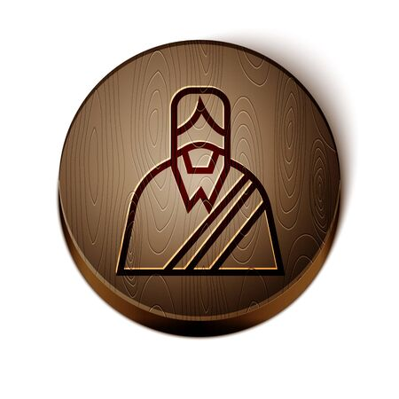 Brown line Jesus Christ icon isolated on white background. Wooden circle button. Vector Illustration Иллюстрация
