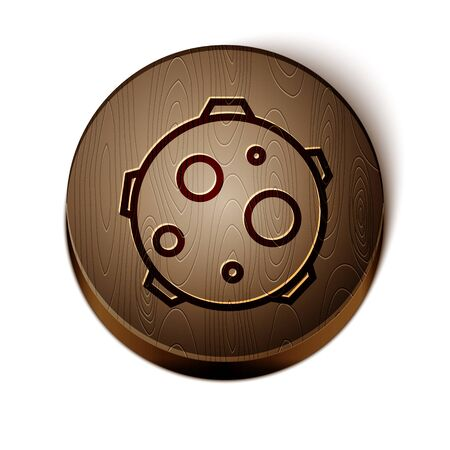 Brown line UFO abducts cow icon isolated on white background. Flying saucer. Alien space ship. Futuristic unknown flying object. Wooden circle button. Vector Illustration Vectores