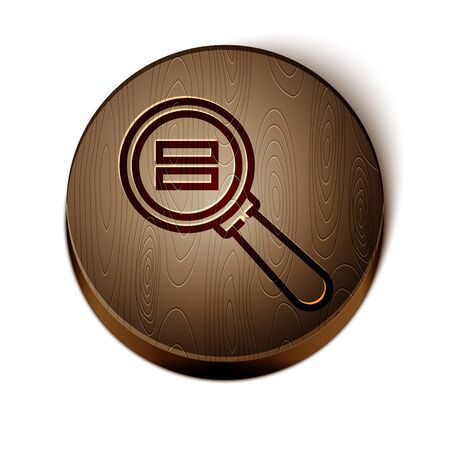 Brown line Paper clip icon isolated on white background. Wooden circle button. Vector Illustration Çizim