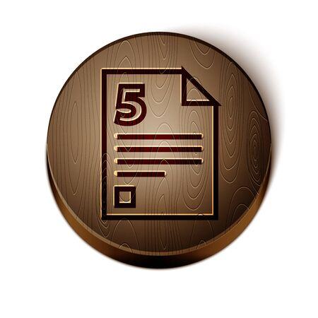 Brown line Infinity icon isolated on white background. Wooden circle button. Vector Illustration
