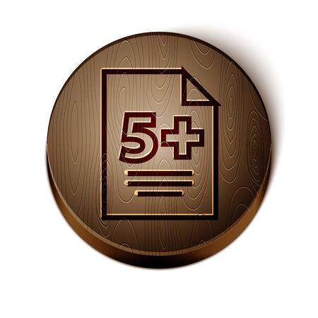 Brown line Calculator icon isolated on white background. Accounting symbol. Business calculations mathematics education and finance. Wooden circle button. Vector Illustration Иллюстрация