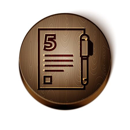 Brown line Open book icon isolated on white background. Wooden circle button. Vector Illustration Çizim