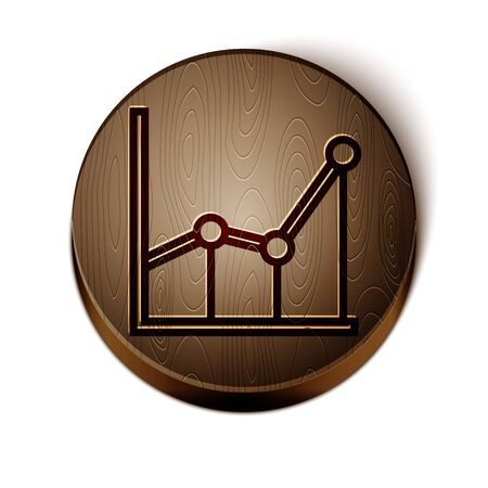 Brown line Sigma symbol icon isolated on white background. Wooden circle button. Vector Illustration Çizim
