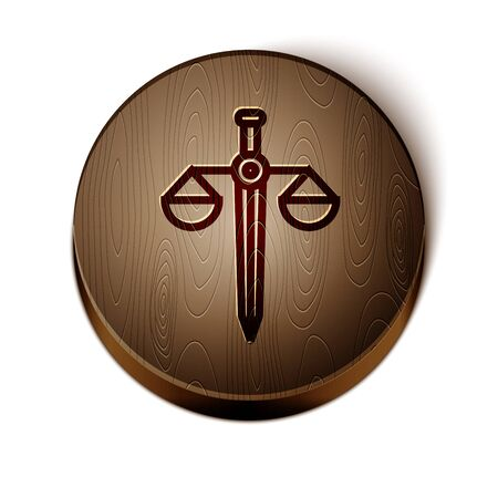 Brown line Scales of justice icon isolated on white background. Court of law symbol. Balance scale sign. Wooden circle button. Vector Illustration