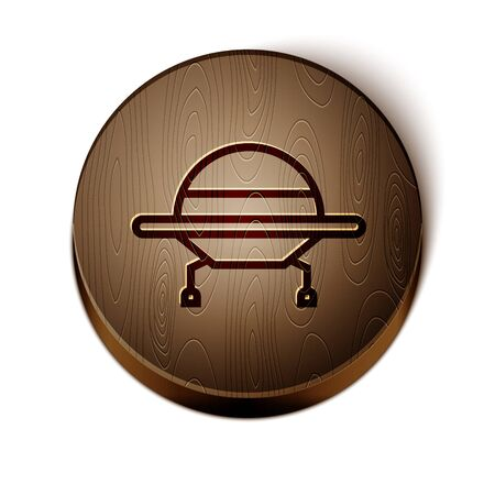 Brown line UFO flying spaceship icon isolated on white background. Flying saucer. Alien space ship. Futuristic unknown flying object. Wooden circle button. Vector Illustration Ilustração