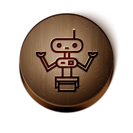Brown line Robot icon isolated on white background. Wooden circle button. Vector Illustration Иллюстрация