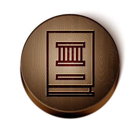 Brown line Law book icon isolated on white background. Legal judge book. Judgment concept. Wooden circle button. Vector Illustration Иллюстрация
