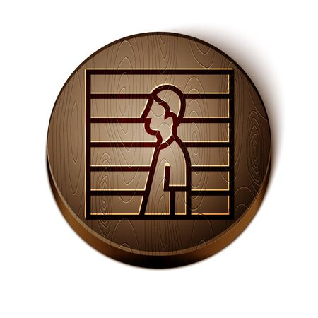 Brown line Suspect criminal icon isolated on white background. The criminal in prison, suspected near the board. Wooden circle button. Vector Illustration Иллюстрация
