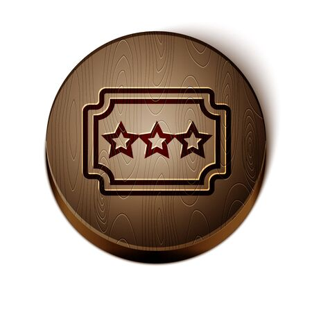 Brown line Ticket icon isolated on white background. Amusement park. Wooden circle button. Vector Illustration