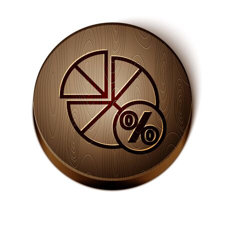 Brown line Math system of equation solution on speech bubble icon isolated on white background. Wooden circle button. Vector Illustration