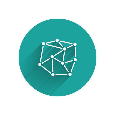 White Neural network icon isolated with long shadow. Artificial Intelligence. Green circle button. Vector Illustration Stok Fotoğraf - 147574978