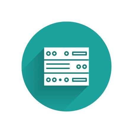 White Server, Data, Web Hosting icon isolated with long shadow. Green circle button. Vector Illustration Stok Fotoğraf - 147574993