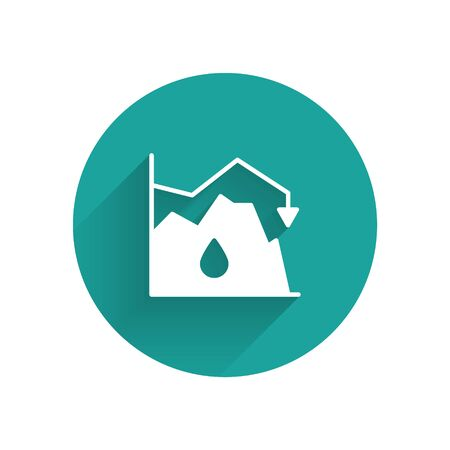 White Drop in crude oil price icon isolated with long shadow. Oil industry crisis concept. Green circle button. Vector Illustration