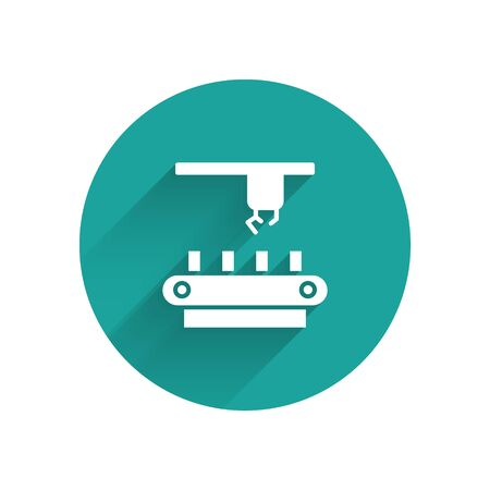 White Factory conveyor system belt icon isolated with long shadow. Robot industry concept. Green circle button. Vector Illustration