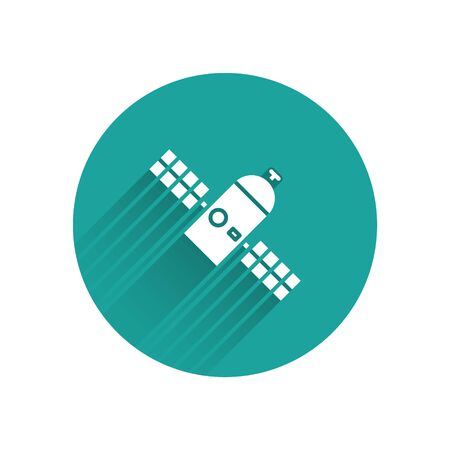 White Satellite icon isolated with long shadow. Green circle button. Vector Illustration