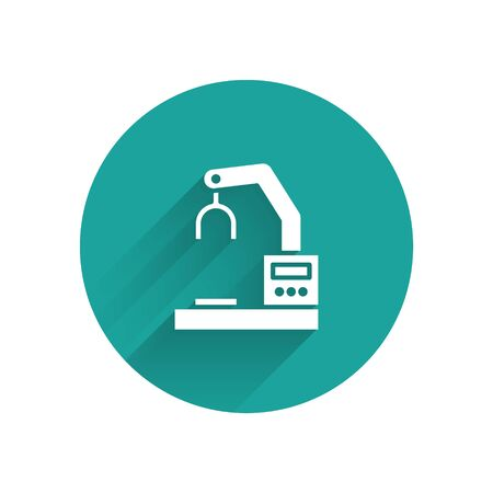 White Industrial machine robotic robot arm hand factory icon isolated with long shadow. Industrial robot manipulator. Green circle button. Vector Illustration