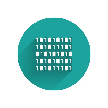 White Binary code icon isolated with long shadow. Green circle button. Vector Illustration Imagens - 147575272