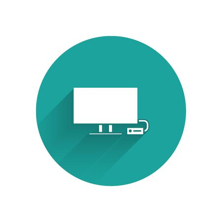 White Smart Tv icon isolated with long shadow. Television sign. Green circle button. Vector Illustration