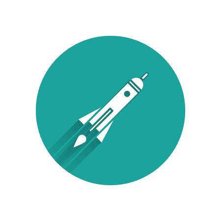White Rocket ship with fire icon isolated with long shadow. Space travel. Green circle button. Vector Illustration Illusztráció