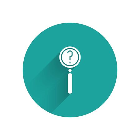 White Magnifying glass with search icon isolated with long shadow. Detective is investigating. Green circle button. Vector Illustration 矢量图像