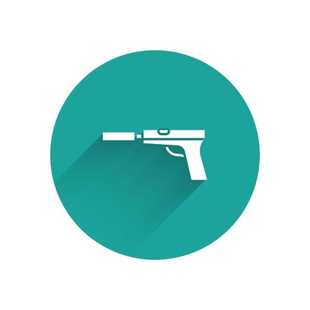 White Pistol or gun with silencer icon isolated with long shadow. Green circle button. Vector