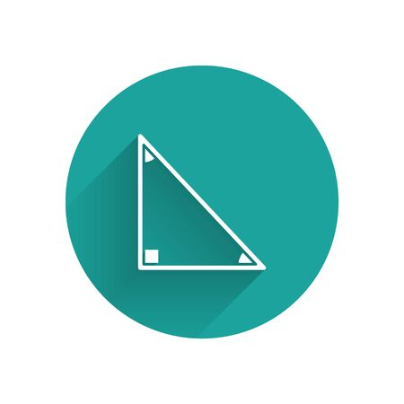 White Triangle math icon isolated with long shadow. Green circle button. Vector Illustration Illusztráció