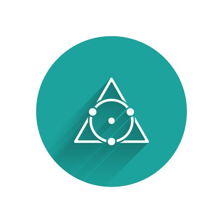 White Triangle math icon isolated with long shadow. Green circle button. Vector